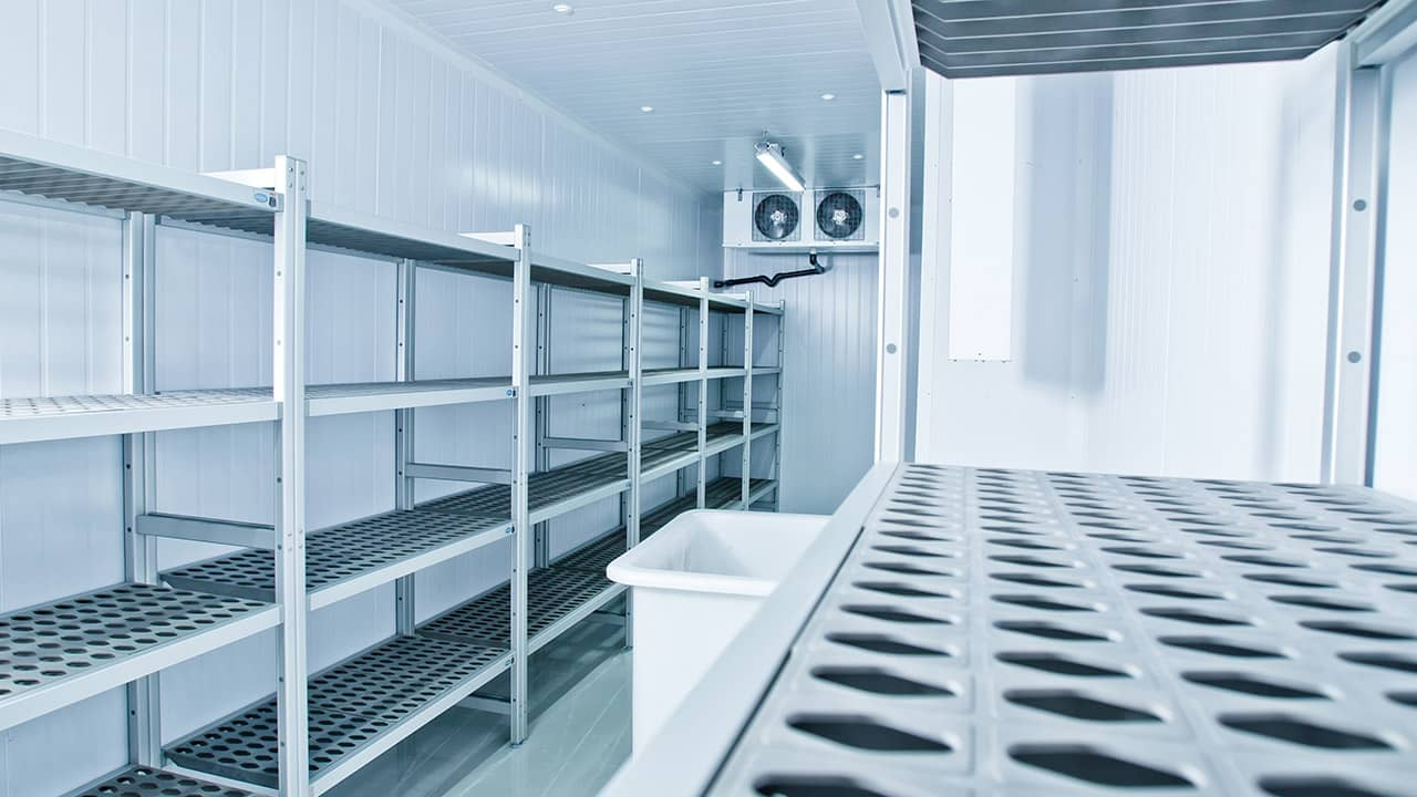 cold room with stainless steel racking