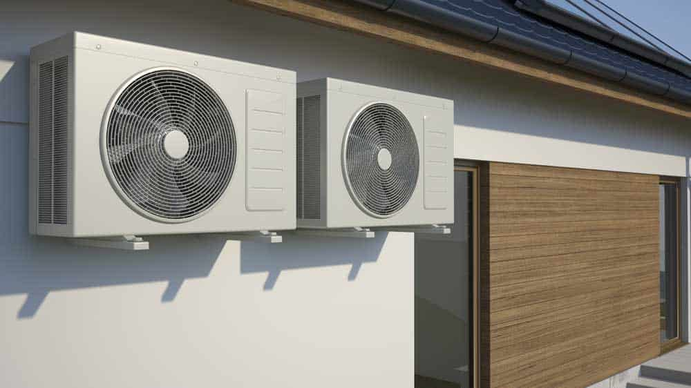 air conditioning unit on the side of house